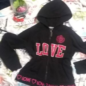 "THRILL, ""lovely"" black with hot pink LOVE hoodie"